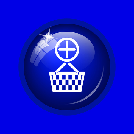 add to basket: Add to basket icon. Internet button on blue background. Stock Photo