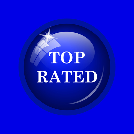 rated: Top rated  icon. Internet button on blue background. Stock Photo