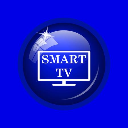 internet background: Smart tv icon. Internet button on blue background.