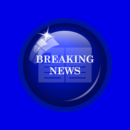 actual: Breaking news icon. Internet button on blue background.