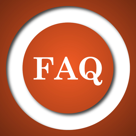 FAQ icon. Internet button on white background.