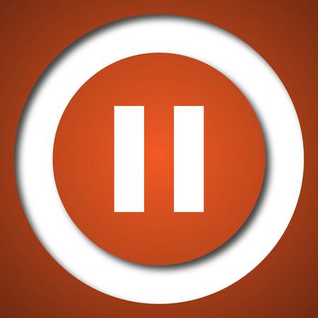 Pause icon. Internet button on white background. Stock Photo