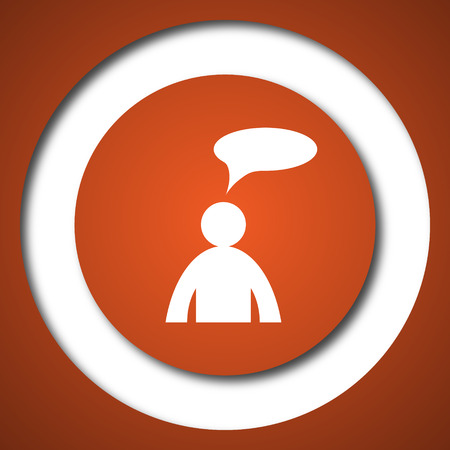Comments icon. Internet button on white background.  - man with bubble
