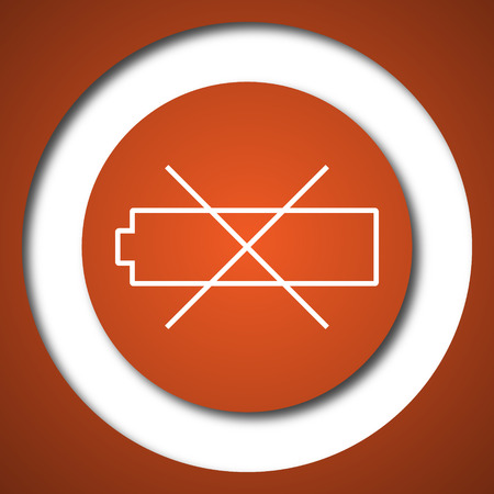 accumulator: Empty battery icon. Internet button on white background.