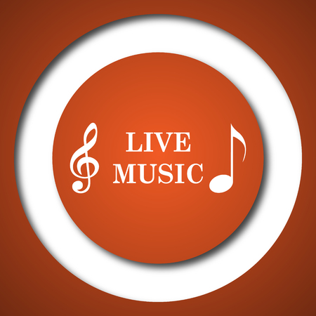 live stream tv: Live music icon. Internet button on white background. Stock Photo