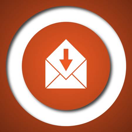 Receive e-mail icon. Internet button on white background.