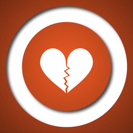 Broken heart icon. Internet button on white background. Stock Photo
