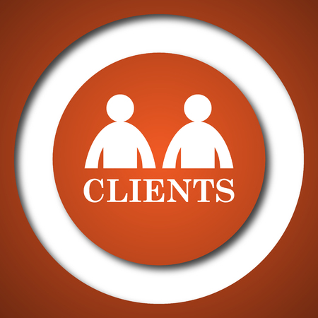 consumer society: Clients icon. Internet button on white background. Stock Photo