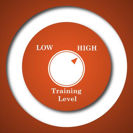 Training level icon. Internet button on white background. Stock Photo