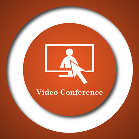 affair: Video conference, online meeting icon. Internet button on white background. Stock Photo