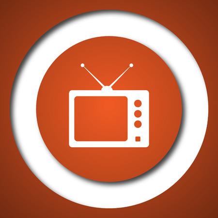 Retro tv icon. Internet button on white background. Stock Photo