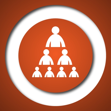 Organizational chart with people icon. Internet button on white background.