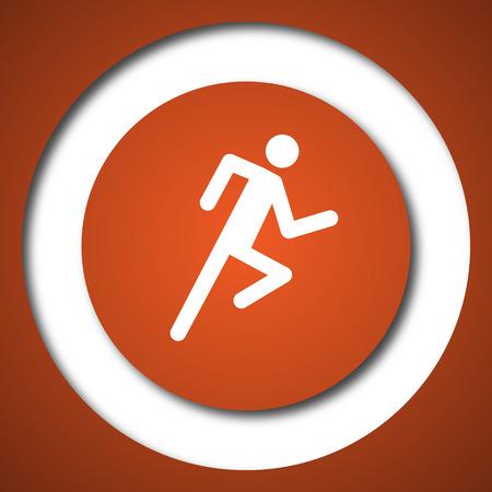 Running man icon. Internet button on white background.