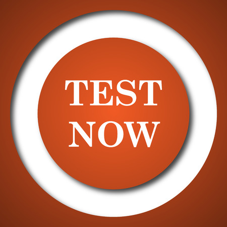 buy now: Test now icon. Internet button on white background.