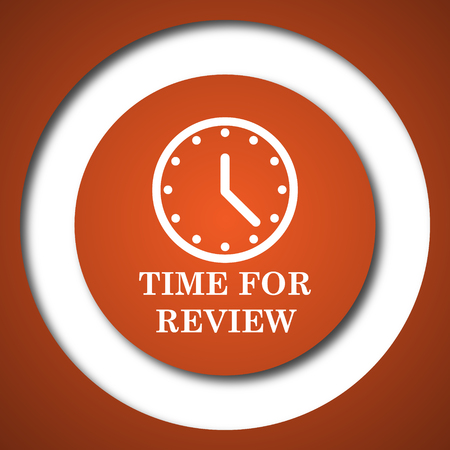 Time for review icon. Internet button on white background. Stock Photo