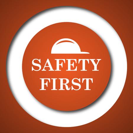 Safety first icon. Internet button on white background. Stock Photo