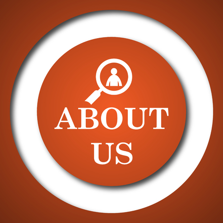 About us icon. Internet button on white background.