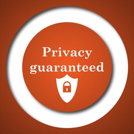Privacy guaranteed icon. Internet button on white background.