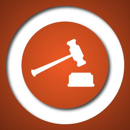 Judge hammer icon. Internet button on white background.