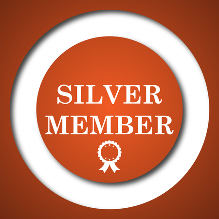 members only: Silver member icon. Internet button on white background. Stock Photo