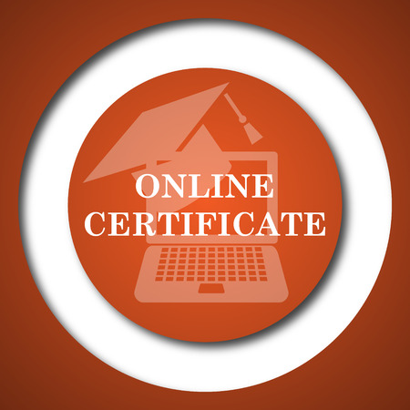 online degree: Online certificate icon. Internet button on white background.