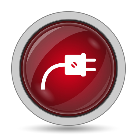 adapter: Plug icon. Internet button on white background. Stock Photo