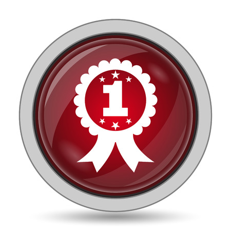 First prize ribbon icon. Internet button on white background.