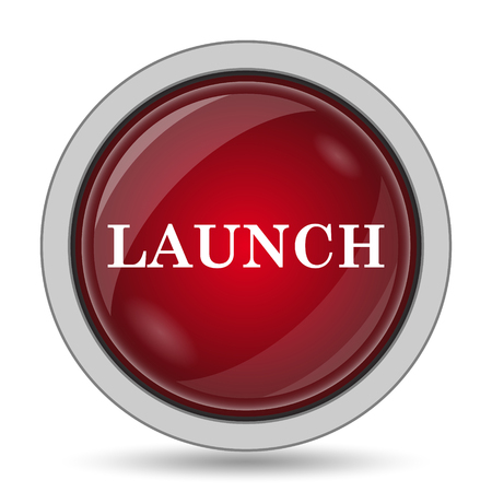 red button: Launch icon. Internet button on white background.