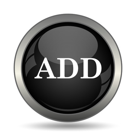 value add: Add icon. Internet button on white background. Stock Photo