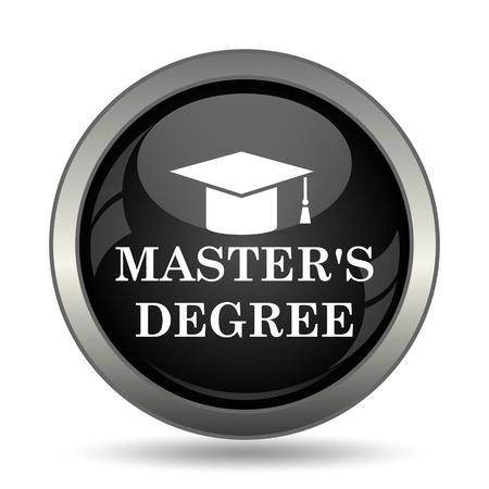 master's: Masters degree icon. Internet button on white background.