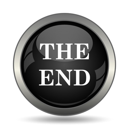 way out: The End icon. Internet button on white background. Stock Photo