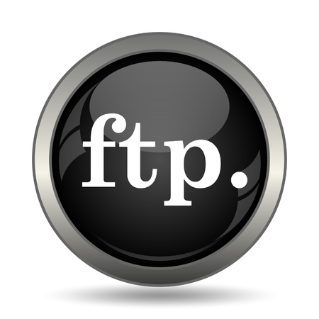 ftp: ftp. icon. Internet button on white background.