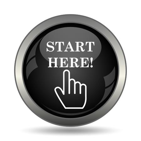 black button: Start here icon. Internet button on white background.
