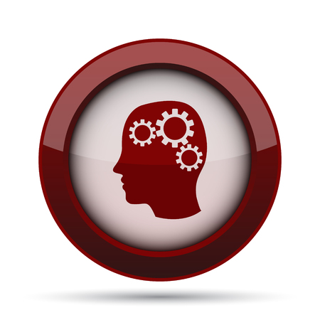concentration gear: Brain icon. Internet button on white background. Stock Photo