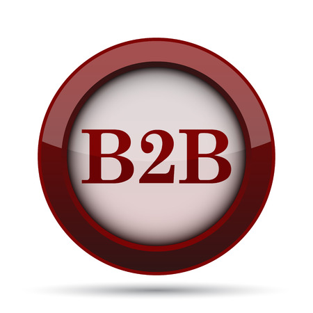 b2b: Icono B2B. Botón de internet sobre fondo blanco.