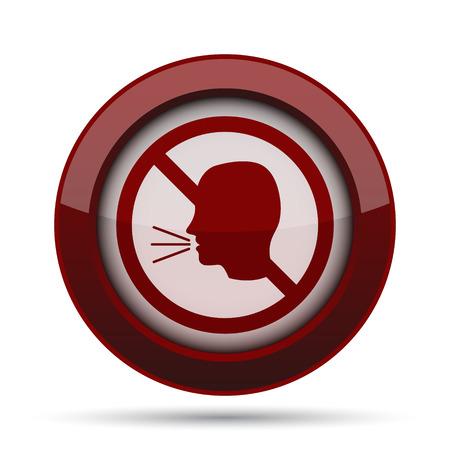 red sound: No talking icon. Internet button on white background.
