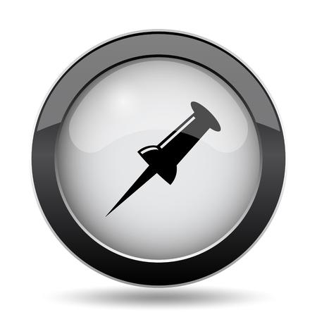 attach         â     â       ©: Icono Pin. Botón de internet sobre fondo blanco. Foto de archivo