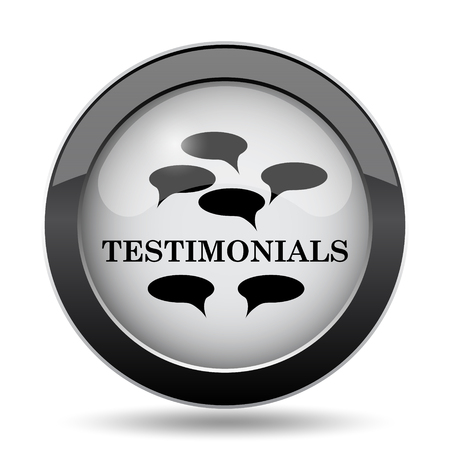 investigations: Testimonials icon. Internet button on white background.