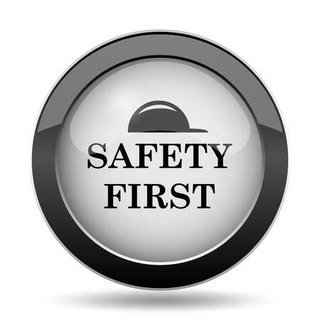 cautionary: Safety first icon. Internet button on white background. Stock Photo