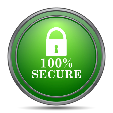 secure icon: 100 percent secure icon. Internet button on white background. Stock Photo