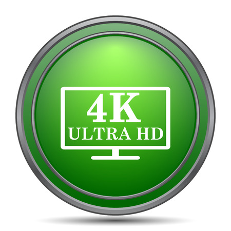 hdtv: 4K ultra HD icon. Internet button on white background.