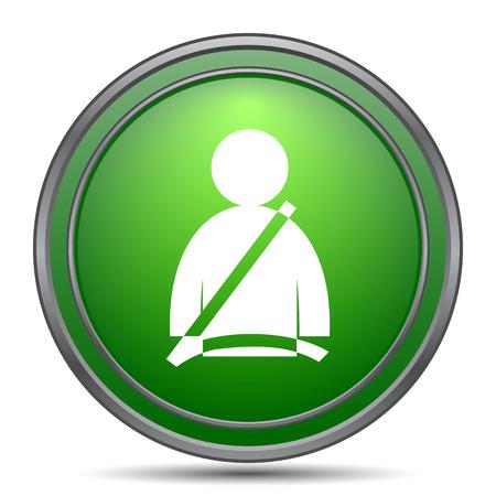 cinturon seguridad: Icono del cinturón de seguridad. Botón de internet sobre fondo blanco.