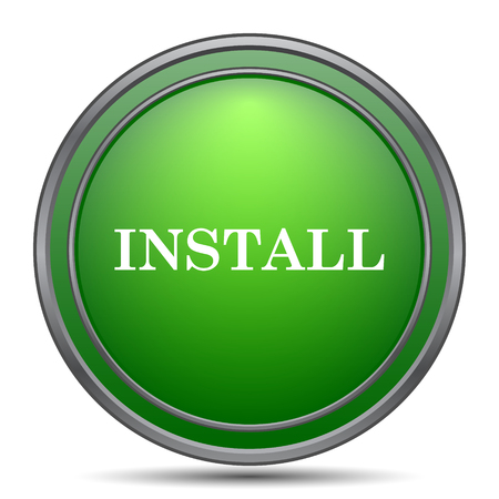 operative system: Install icon. Internet button on white background.