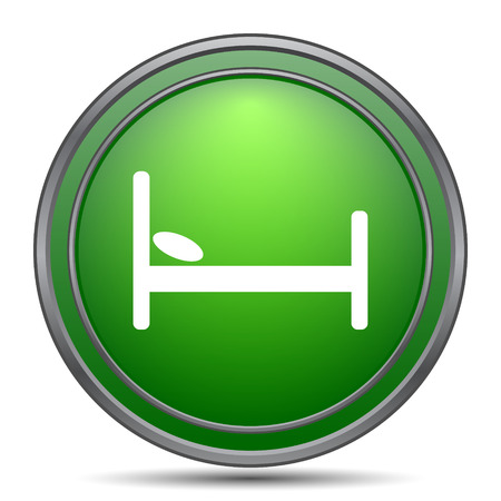 stay in green: Hotel icon. Internet button on white background. Stock Photo