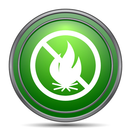 flammable warning: Fire forbidden icon. Internet button on white background. Stock Photo