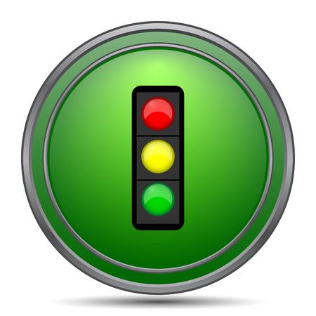 Traffic light icon. Internet button on white background. Stock Photo