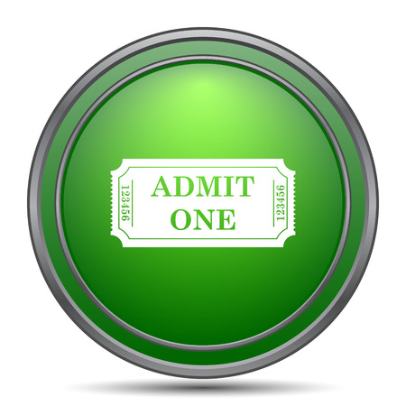 raffle: Admin one ticket icon. Internet button on white background. Stock Photo