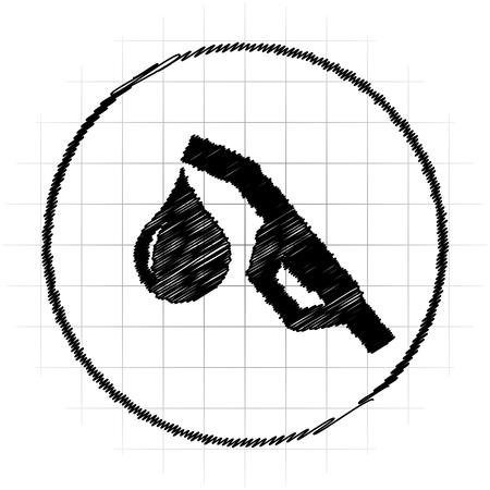 refueling: Gasoline pump nozzle icon. Internet button on white background. Stock Photo