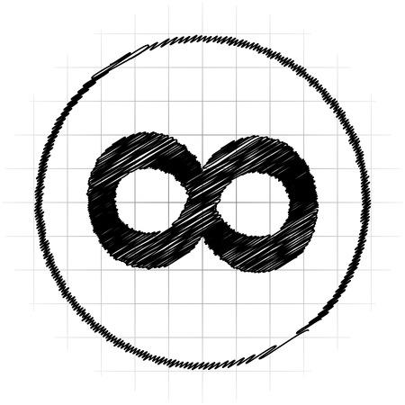 signo de infinito: Icono de signo infinito. Botón de internet sobre fondo blanco.