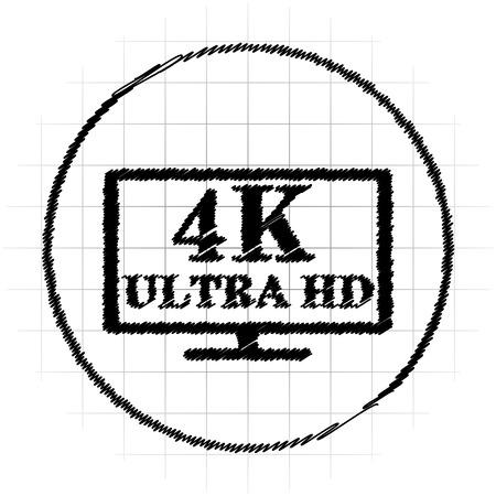 4K ultra HD icon. Internet button on white background.